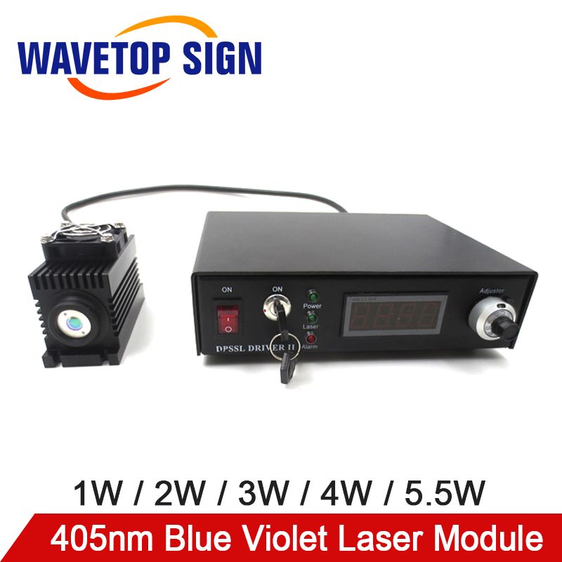 WaveTopSign 405nm Blue Violet Power 1W / 2W / 3W / 4W / 5.5W Adjustable Laser Module Laser HeadWaveTopSign 405nm Blue Violet Power 1W / 2W / 3W / 4W / 5.5W Adjustable Laser Module Laser Head