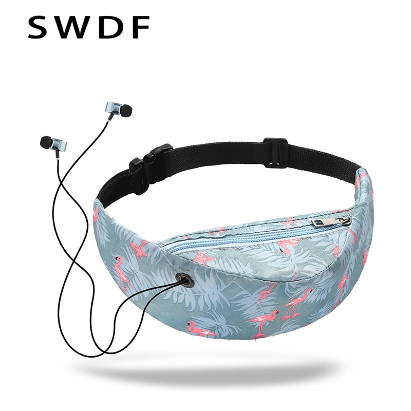 SWDF 2019 New 3D Colorful Print Leisure Waist Bag Waterproof Travelling Fanny Pack Mobile Phone Waist Pack For Women Belt Bags