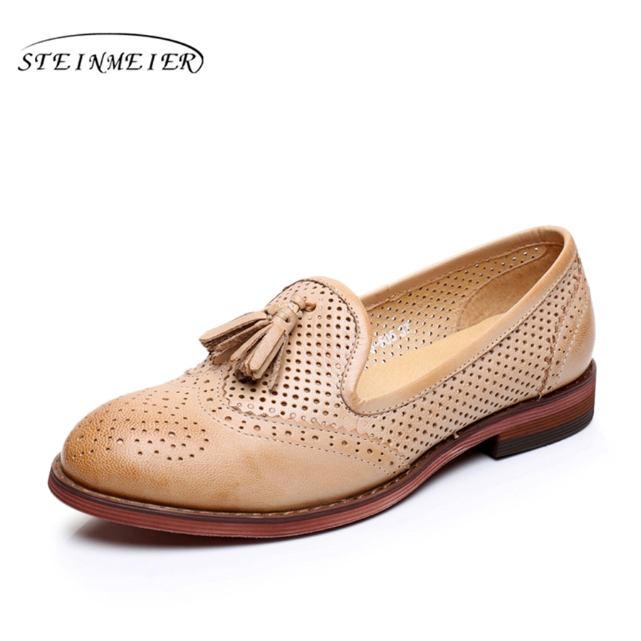 Women summer leather shoes woman brogues yinzo lady flats shoes vintage sneakers tassel spring casual shoes
