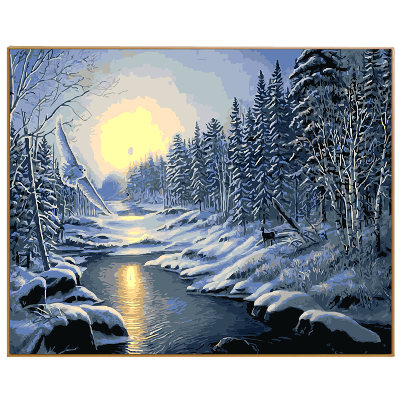 PHKV Winter Snow Landscape Diy Picture Paint On Canvas Diy Digital Oil Painting By Numbers Drawing Home Decor Craft River Forest ...