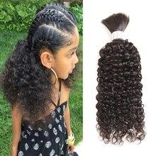 Pelo Rizado brasileño precoloreado Perla Negra, mechones, cabello Remy a granel, trenzado de cabello humano, 1 paquete de trenzas