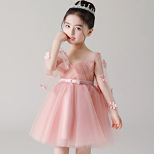 Girl  Dress Princess Childrens Wedding Pink Flower Piano Birthday Host Performed