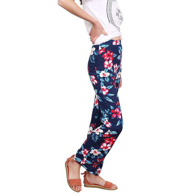 Floral Print Loose Retro Comfortable Casual Ladies Trousers 2