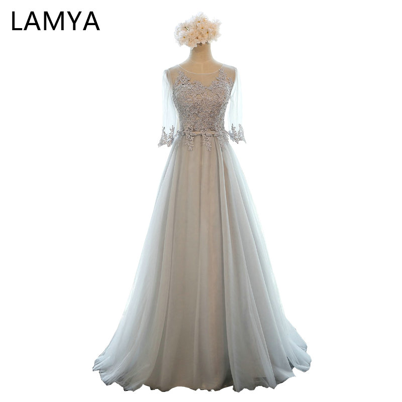 LAMYA 5Colors Customized Half Sleeve Lace Long Bridesmaid Dresses For Women 2018 Fashion Wedding Party Elegant Dress BD2617