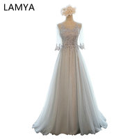 LAMYA 5Colors Customized Half Sleeve Lace Long Bridesmaid Dresses For Women 2018 Fashion Wedding Party Elegant Dress BD2617