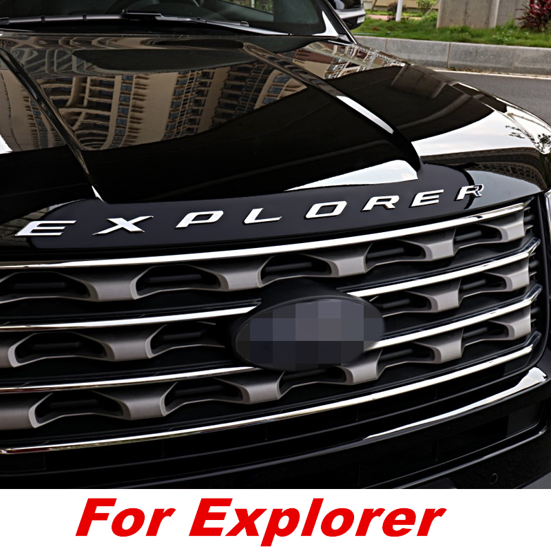 DKDFCD CHROME BONNET EMBLEM 3D LOGO ALPHABET STICKER FOR FORD EXPLORER 2010- 2018