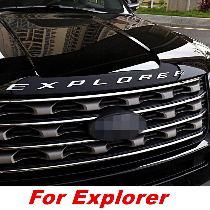 Voiture CHROME BONNET emblème 3D LOGO ALPHABET autocollant pour FORD EXPLORER 2010-2018 accessoires voiture style voiture accessoires