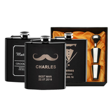1 Set Personalized Engraved 6 oz Black Hip Flask Stainless Steel Wedding Birthday Valentine's Day Gift Favors FL02