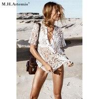M H Artemis White Deep V Neck Crochet Lace Top Hollow Out Lace Up Blouse Boho
