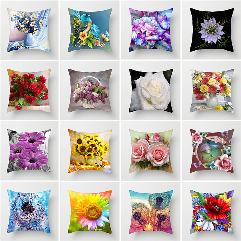 ZENGIA Flower Painting Cushion Cover For Home Decor Sunflower/Rose/Dandelion Decprative Pillows Polyester Home Throw Pillows