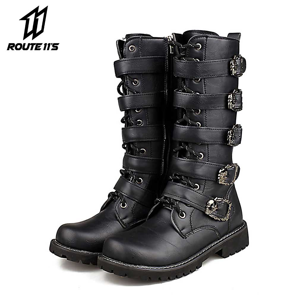 Motorcycle Boots Men Motocross Boots Motorcycle Shoes PU Leather Rock Mid-calf Buckle Motorbike Boots Punk Martin Boots BlackMotorcycle Boots Men Motocross Boots Motorcycle Shoes PU Leather Rock Mid-calf Buckle Motorbike Boots Punk Martin Boots Black