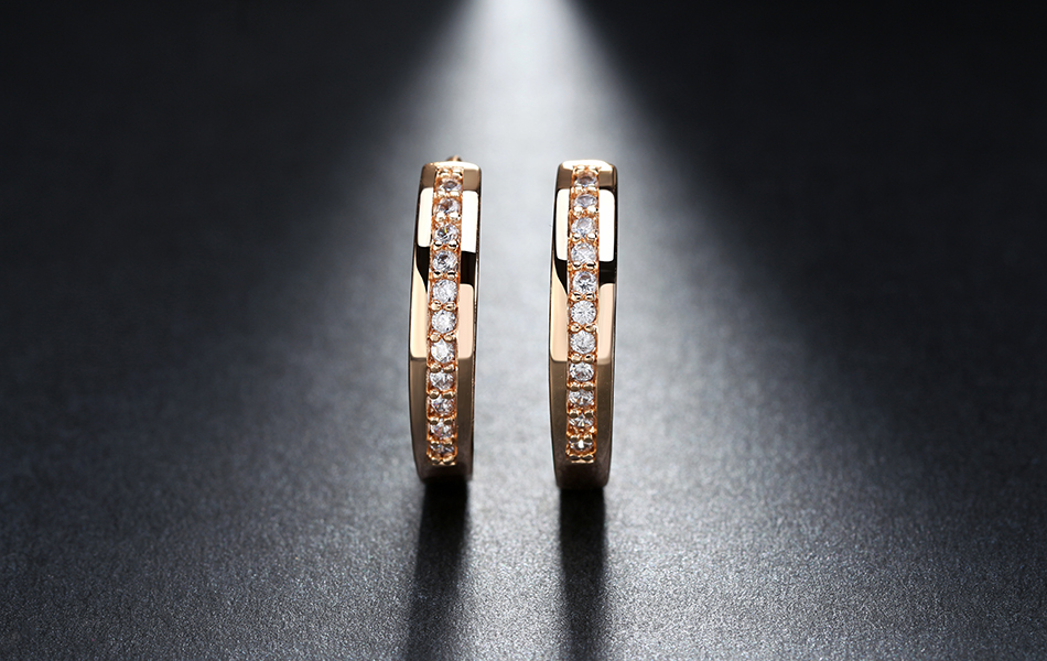 Effie Queen Cute Romantic Style Earrings Jewelry Gold -color Paved with AAA Cubic Zircon Stud Earrings for Women DDE34 8