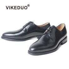 VIKEDUO/Простые Черные Мужские модельные туфли из кожи с натуральным лицевым покрытием; Мужская обувь ручной работы; свадебные офисные туфли-Дерби в деловом стиле; Zapato Hombre