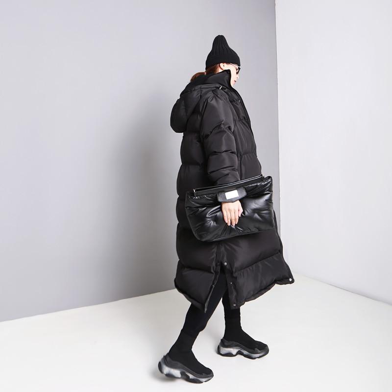 Couleur De Et Europe Lyh2353 Épais Pleine Long Parka Lâche Black Nouvelles Mode Solide Femmes Split 2018 Hiver Douille Manteau xitao Femelle 6Sqzawq