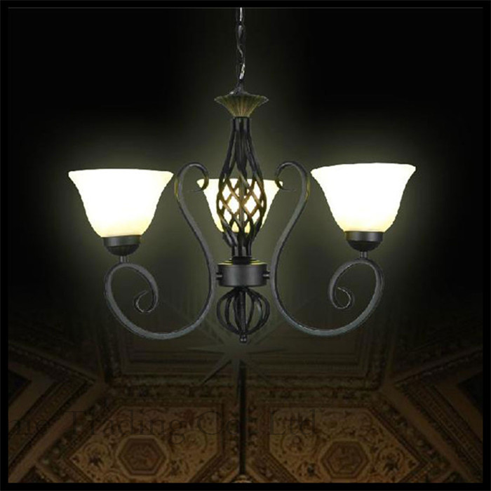 110V - 240V AC lustre Traditional vintage Iron chandelier  3 lights E27 Frosted Glass Lampshade,Black hanging chandeliers lamps110V - 240V AC lustre Traditional vintage Iron chandelier  3 lights E27 Frosted Glass Lampshade,Black hanging chandeliers lamps