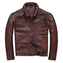 HARLEY DAMSON Brown Men American Casual Style Leather Jacket Plus Size 4XL Genuine Cowhide Spring Slim Fit Natural Leather Coat цена