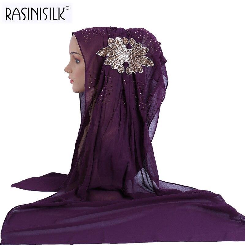 New Women Wrinkle Design Hijab Scarves Big Appliques Rhinestone Bubble Chiffon Muslim Scarf Islam Shawl Headscarf Arab Turban