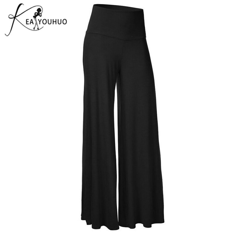 Autumn 2018 Fashion Trousers Women   Pants   Big Size Elastic High Waist Black White   Pants   Female Loose Fat Mom   Wide     Leg     Pants   Large