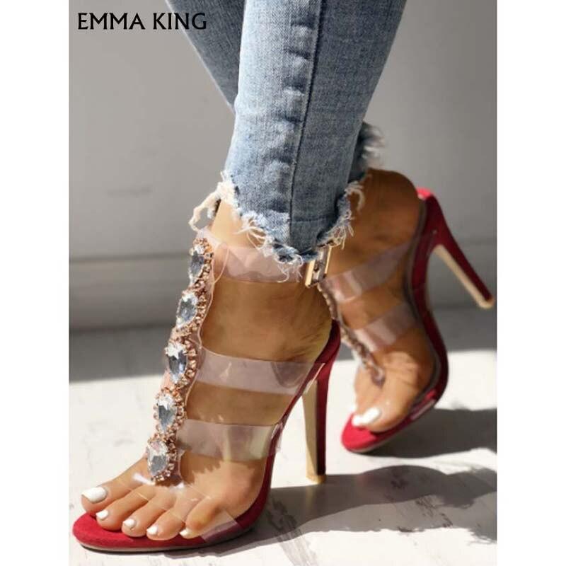 Sandalias de tacón con adornos brillantes con correa transparente a la moda para mujer zapatos de lujo para mujer - 3