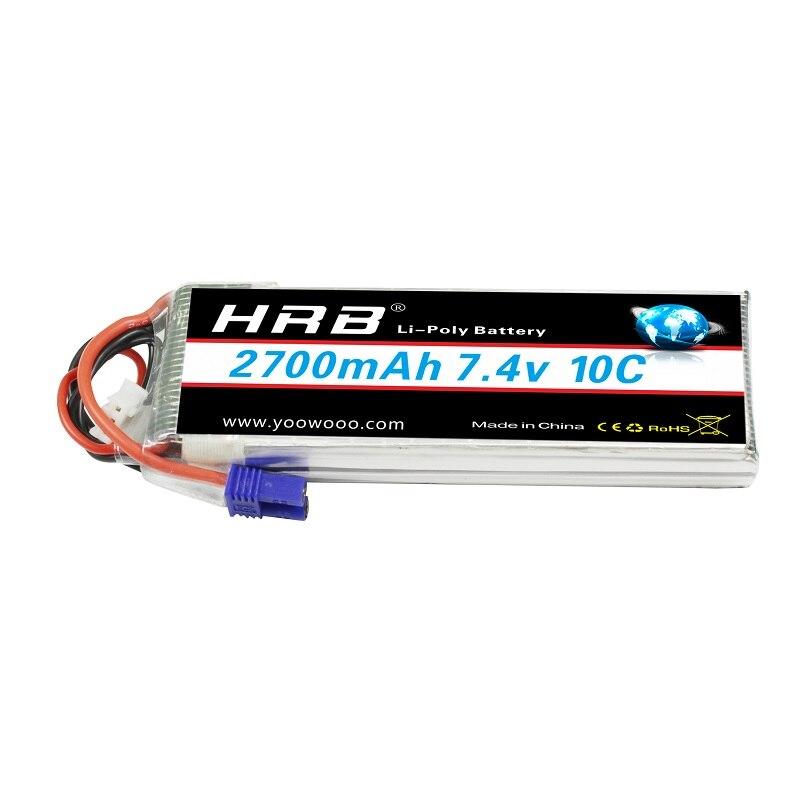 HRB Lipo 2S Hubsan H501S 4x batería 7,4 V 2700mah 10C MAX 20C EC2 batería recargable para helicóptero 2500 mAh 7,4 v batería lipo para Syma x8c X8G X8W X8G X8HC X8HW X8HG para RC Quodcopter piezas 7,4 batería de repuesto de batería v
