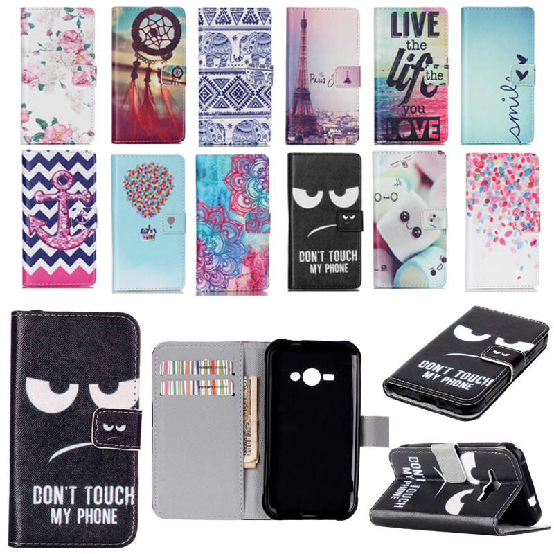 J1 Ace Cover Luxury Flip Wallet Art Print Leather Stand Phone Case For Fundas Samsung Galaxy J1