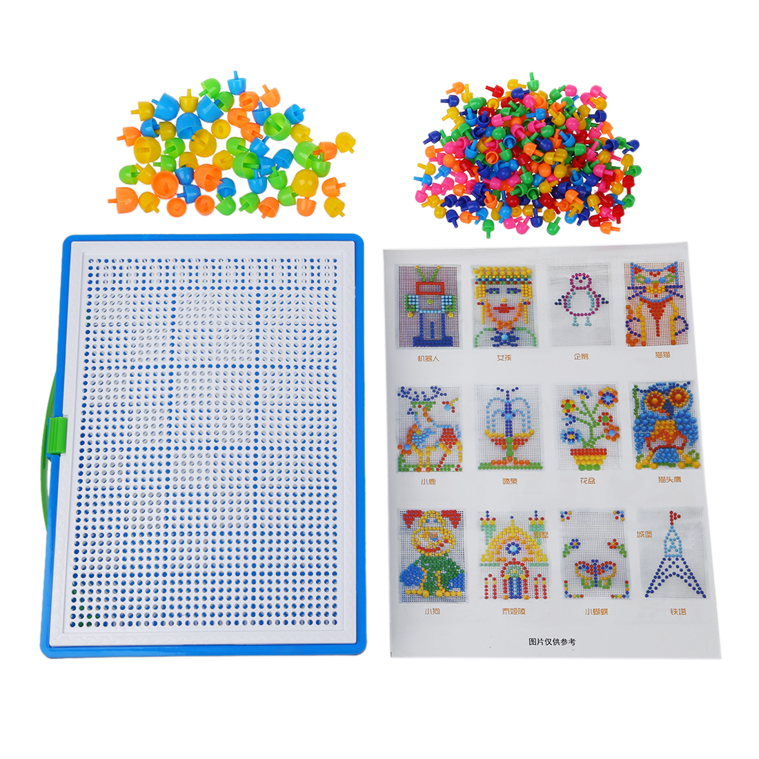 HOT SALE 296 Mushroom Nail Intelligent 3D Puzzle Games DIY Mushroom Nail Plastic Flashboard Children Toys Educational Toy rand