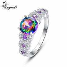 Lingmei Wedding Fashion Round Cut Rainbow & Red White Purple Cubic Zircon Silver Engagement Ring Size 6 7 8 9 Drop shipping