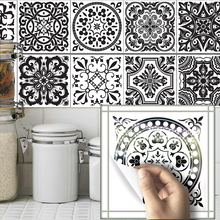Funlife10pcs/sets Bathroom wall Black and white pattern tile stickers  decals home kitchen decoration waterproof wallpaper TS018 self adhesive zebra pattern black and white grid pattern 3d wallpaper kitchen bathroom art background wallpaper home decoration