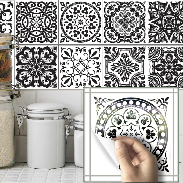 Funlife10pcs/sets Bathroom Wall Black And White Pattern Tile Stickers  Decals Home Kitchen Decoration Waterproof Part 94