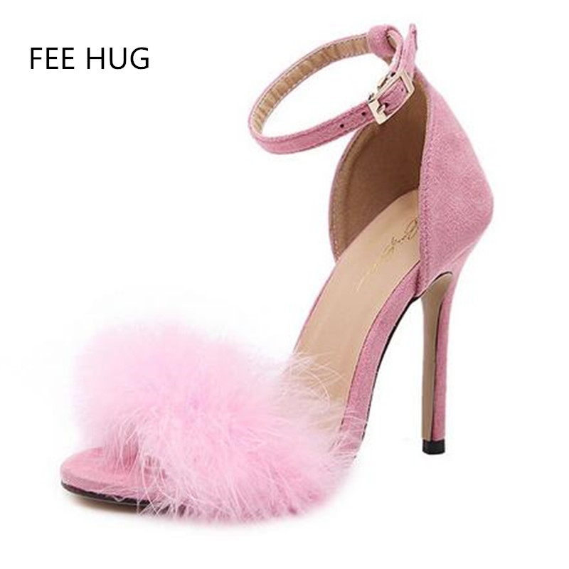 2017 Summer Women's High Heels Shoes Fashion Gladiator Strap Thin Heels Pumps Sandals For Woman Sexy Fur Ladies Sandalies Shoes цены онлайн