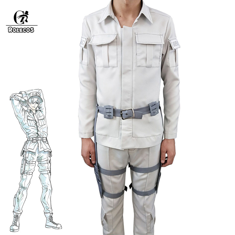 ROLECOS Cells At Work Hataraku Saibou Cosplay Costume Leukocyte U-1146 Anime Cosplay Men Costume Women Uniform White Blood Cell