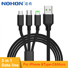 NOHON Lighting Micro USB Type C 3 in 1 Charge Cable For iPhone XS MAX XR Android Long Charging Cord 2M Xiaomi Samsung Huawei