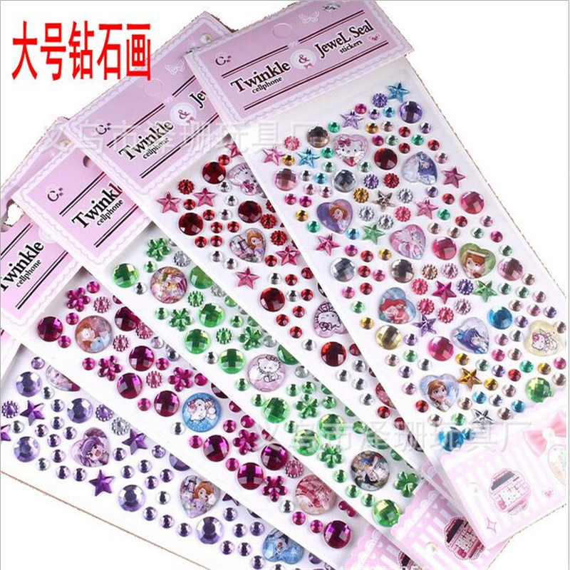 5pcs/lot Many Styles Crystal Decoration Stickers 3D Baby Kids boys girls DIY Cute Children toys Stickers