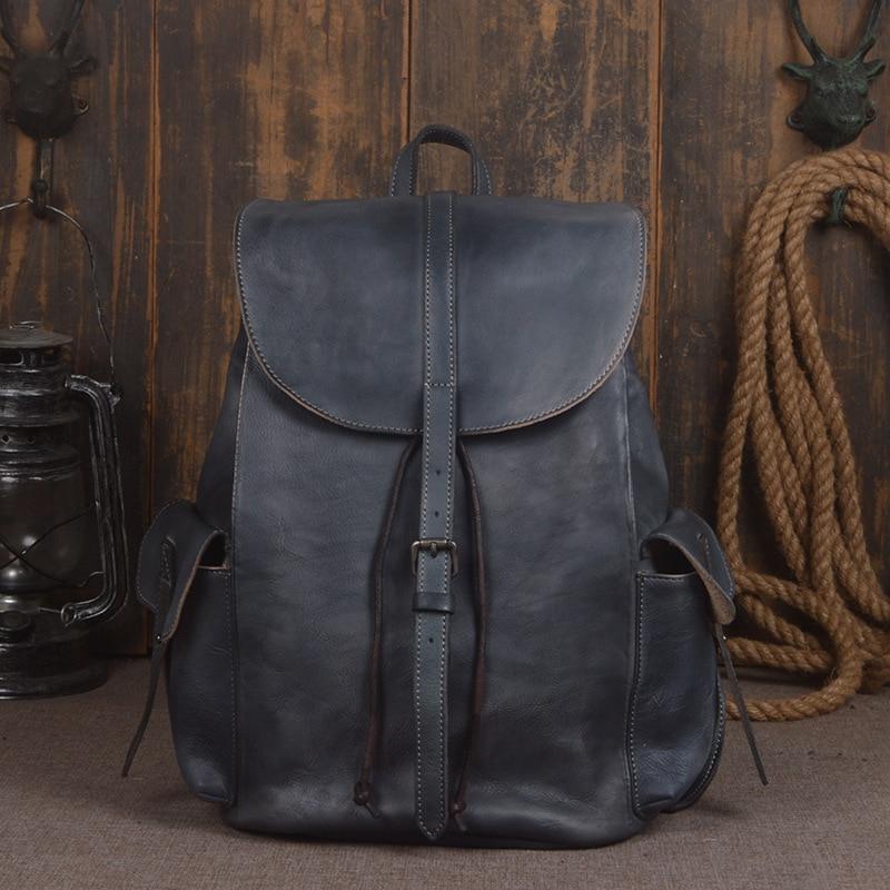 Bag High Quality Brown Vintage Real Skin Genuine Leather Laptop Men Backpacks Cowhide Male Travel Pack Bags Handmade Leather Luggage & Bags Men's Bags