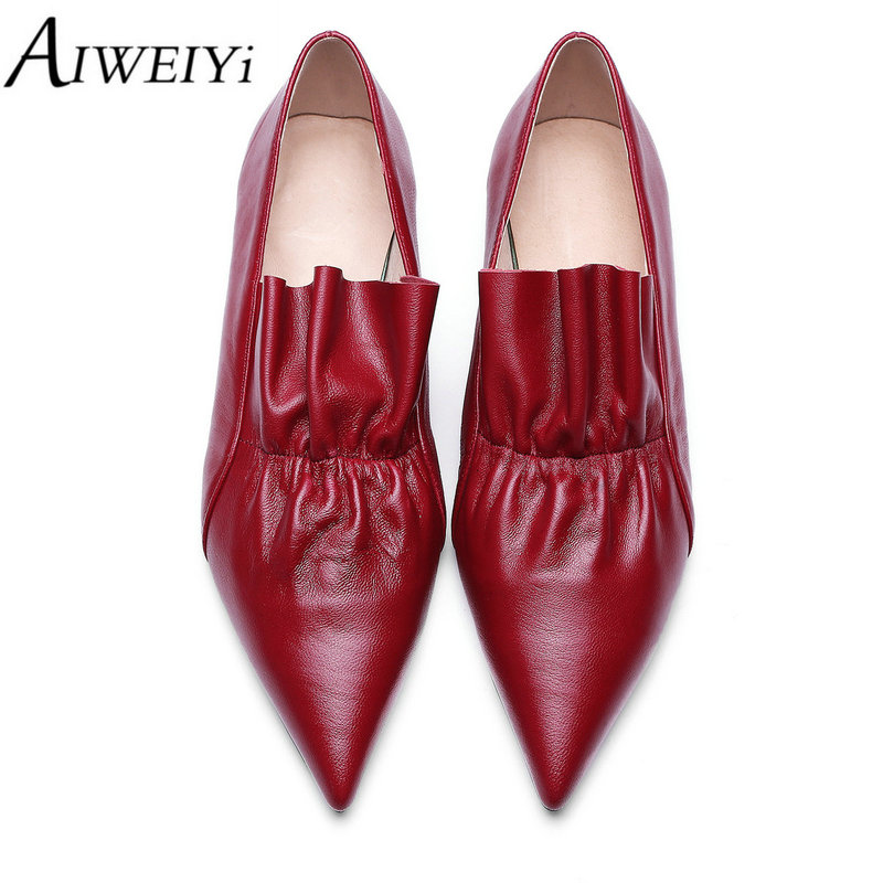 ФОТО AIWEIYi Fashion Shoes Woman Sheepskin Flats Buckle Women Flats Luxury Slip On Women Flat Shoes Pointed Toe Leather Zapatos Mujer