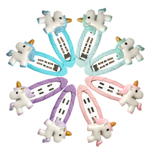Girl's Colorful Cartoon Unicorn Hair Clips Set