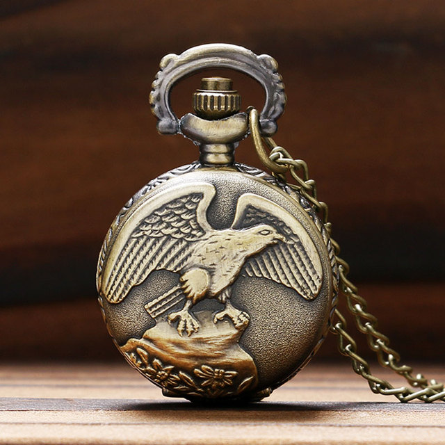 Cool Bronze Flying Eagle Design Small Size Pocket Watch Sweater Pendant Necklace