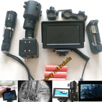 DIY Night Vision Rifle Scope LCD Monitor Hunting Trail Camera w/ IR Laser Torch 25mm/30mm Mount 4.3'' Screen for Monocular 200M