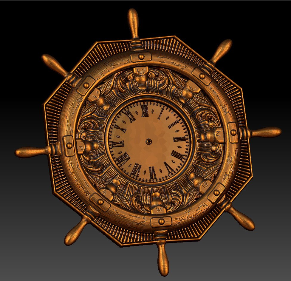 Digital File In STL Format Clock For CNC 3D Relief Carving Engraving C36-34