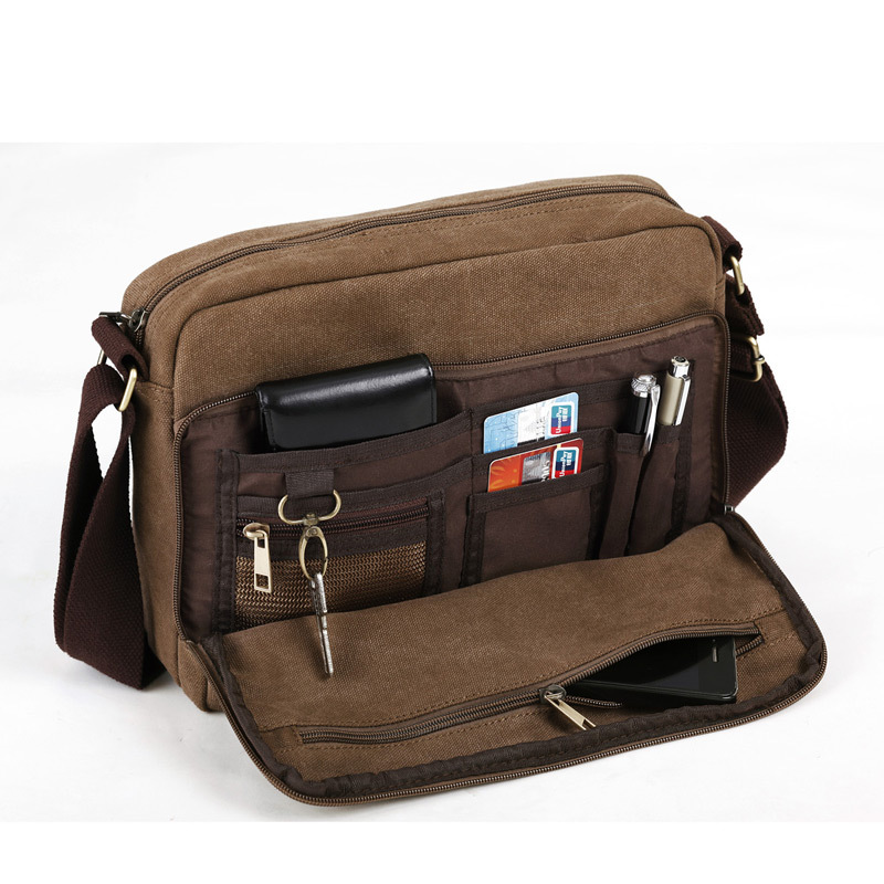 ESHOW Brown Vintage Canvas Men Crossbody Bags Shoulder Messenger Bag for  ipad Laptop BFK010491-in Crossbody Bags from Luggage   Bags on  Aliexpress.com ... 2d110604f4995