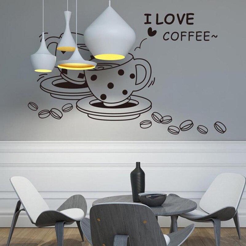I Love Coffee Wall Sticker Ristorante Casa Cucina Decorazione ...