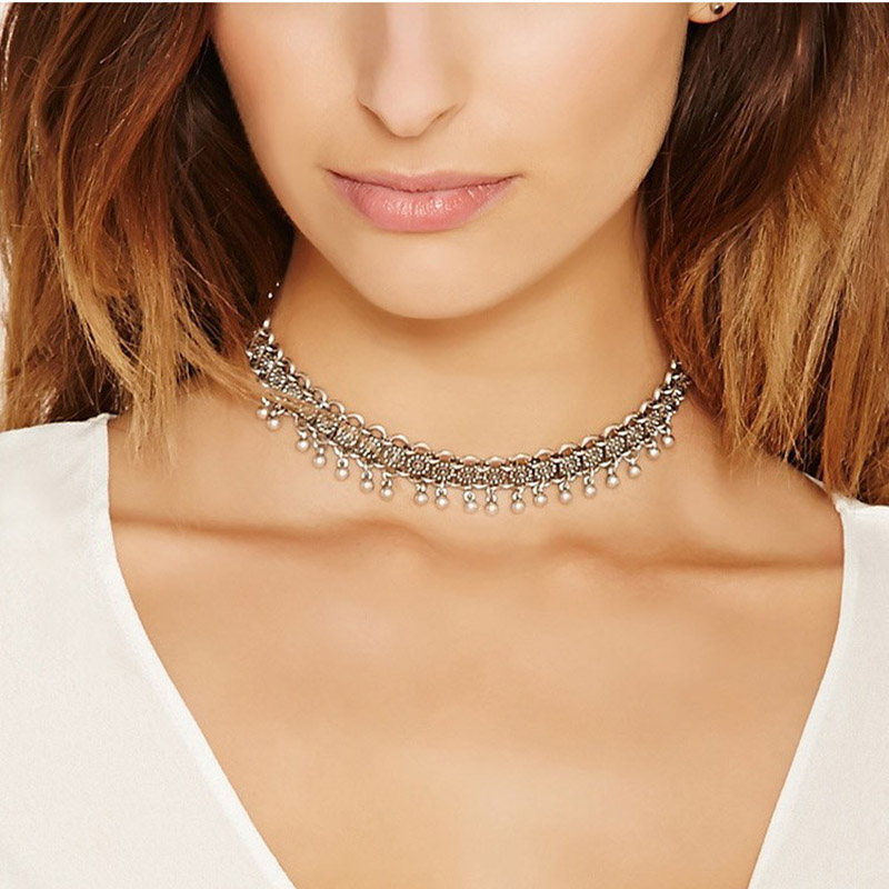 New Fashion Bohemia Bell Chokers Necklaces for Women Turkish Antique Silver Plated Link Short Necklace Fashion Jewelry Collar