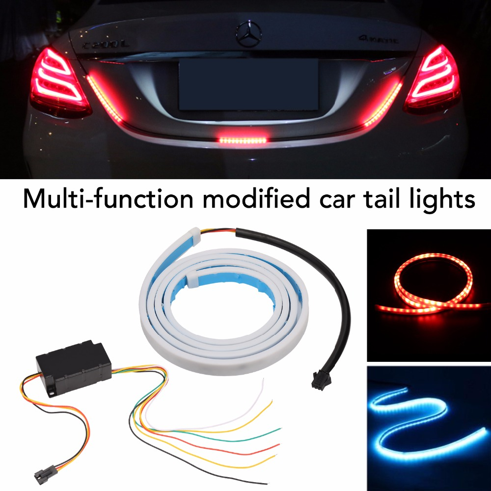 LED Strip Tail Light Bar Car Truck Running Brake Reverse Turn Signal Lamp Rear Trunk Leds Warning Lights Strips Car Styling 12V dongzhen fit for nissan bluebird sylphy almera led red rear bumper reflectors light night running brake warning lights lamp