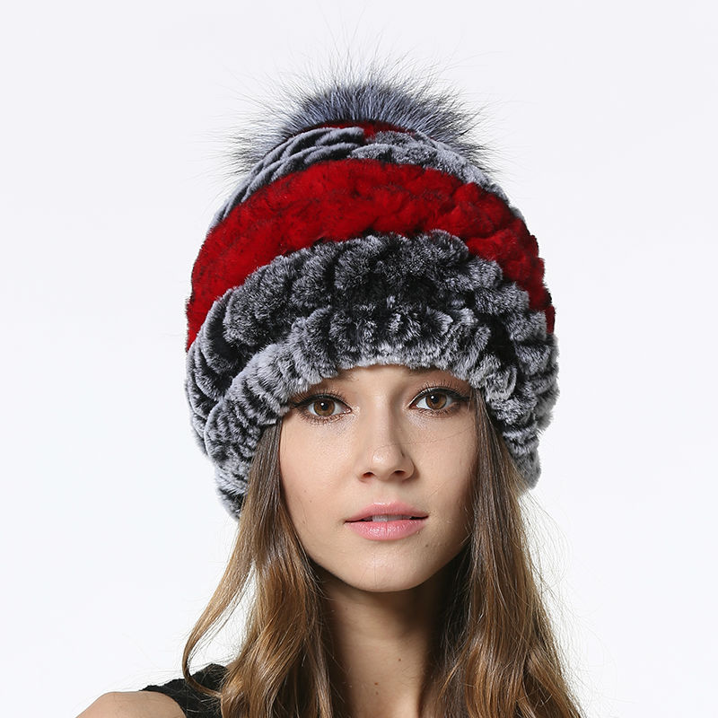 2017 New Hot Sale Knitted Fur Caps for Female Rex Rabbit Fur with Silver Fur Ball