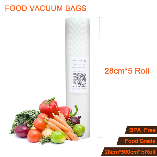 28cmx500cm 5 Rolls Food Storage Bags Kitchen Vacuum Sealer Bag Meat Vegetable Fruit Keep