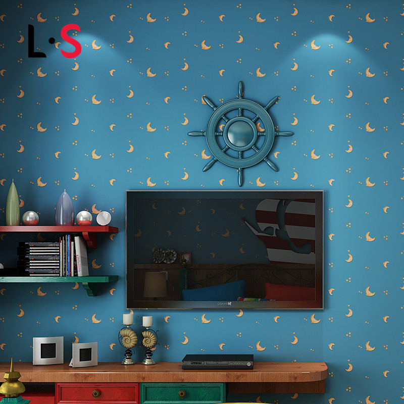 Non woven fabric kids cartoon papel de parede printed for Space wallpaper for kids room