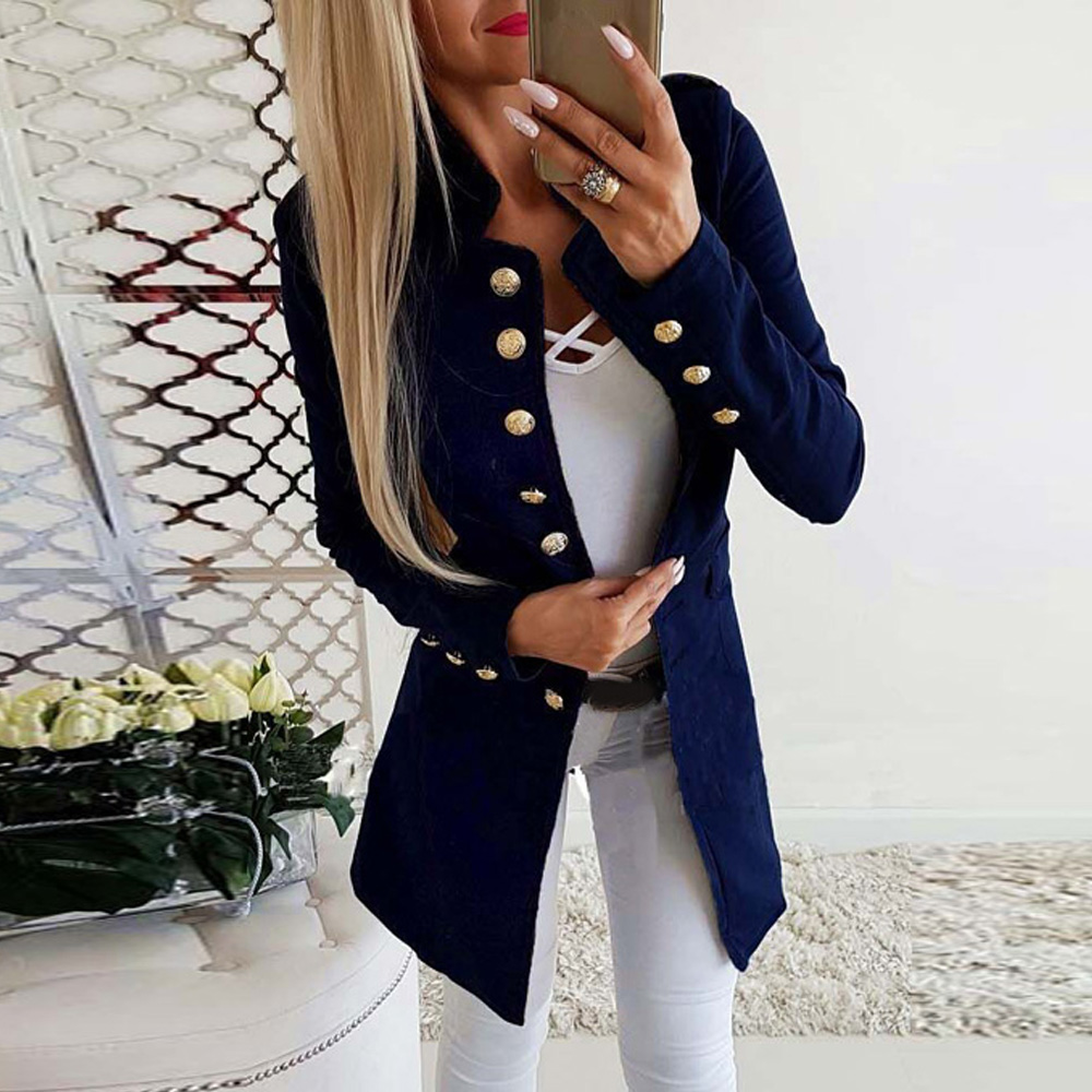 Coat Standing-Collar Slim-Fit Long-Sleeve Autumn Winter Women's Hot-Sales Single-Breasted