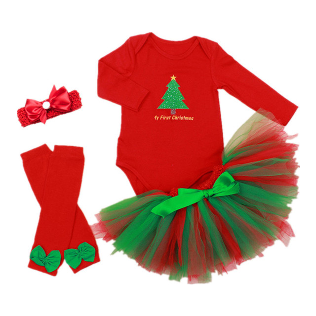 hot sale newborn christmas dresses baby girl winter clothing sets long sleeve cotton infant christmas dress
