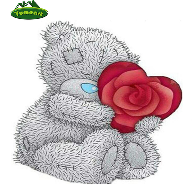 diamant broderie de bande dessine ours et rouge coeur diamant mosaque image diy plein foret dessin - Ours Coeur
