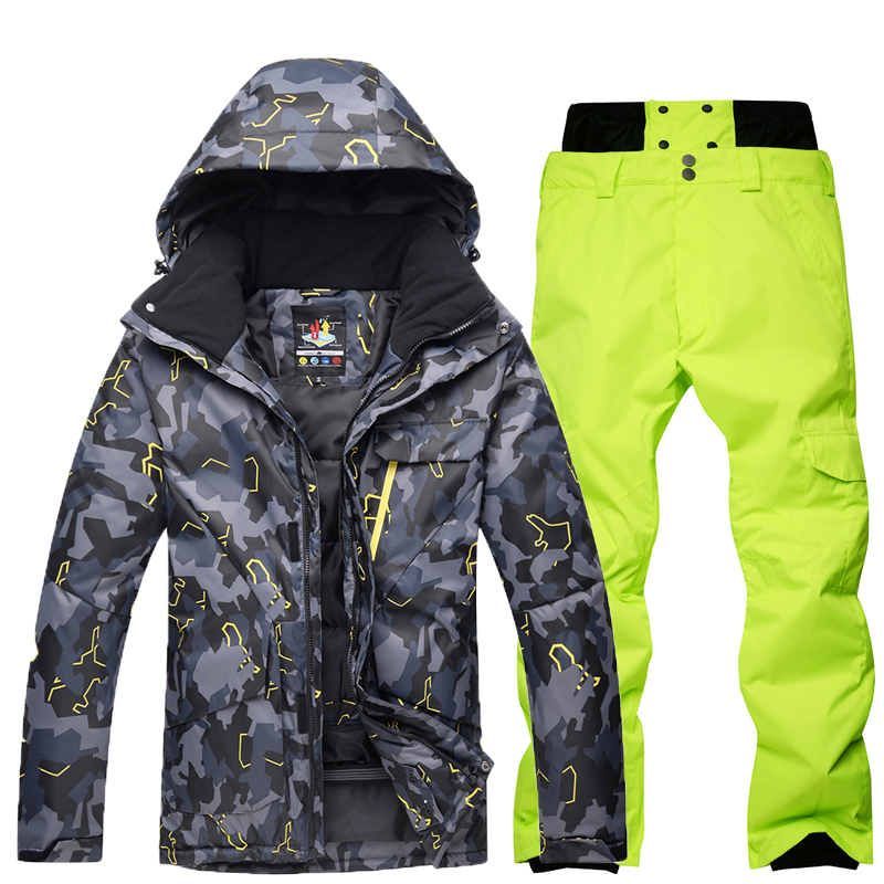 Winter Ski Suit Men Waterproof Thermal Ski Jacket+Snowboard Pant Male Outdoor Skiing And Snowboarding Snow Ski Suit Free Freight a suit of ethnic rhinestoned flower necklace and earrings for women